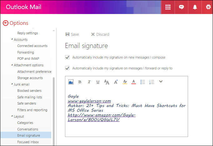 how to include signature in reply outlook 2010