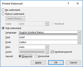 Custom Text Watermark dialog box