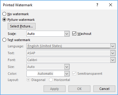 Picture Watermark dialog box