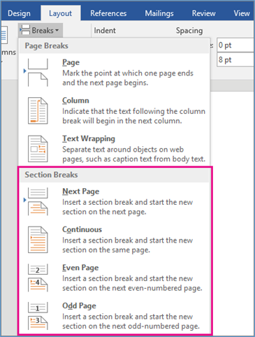 Word Section Break Options from Micosoft