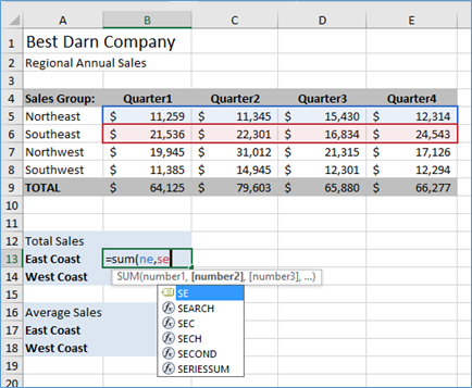 Formula for Total Sales East Coast