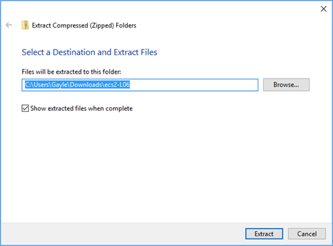 Extract zipped folders dialog box