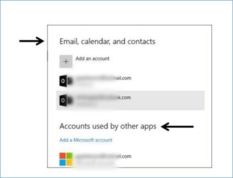 Email, calendar and contacts dialog box