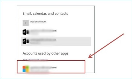 Accounts used by other apps dialog box