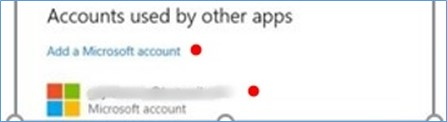 Email account displayed under Add a Microsoft account