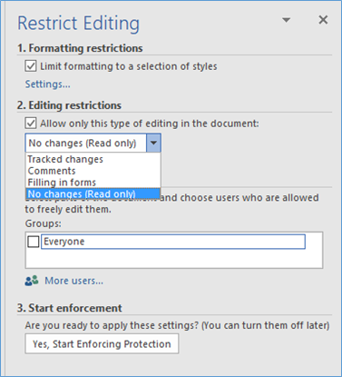 Word Protection Restrict Editing Types