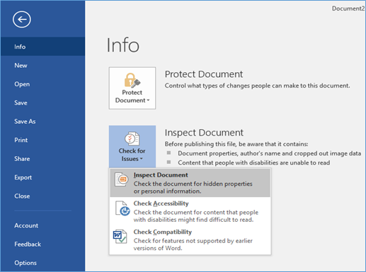 Inspect Document screen
