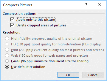 Compress pictures and delete cropped areas