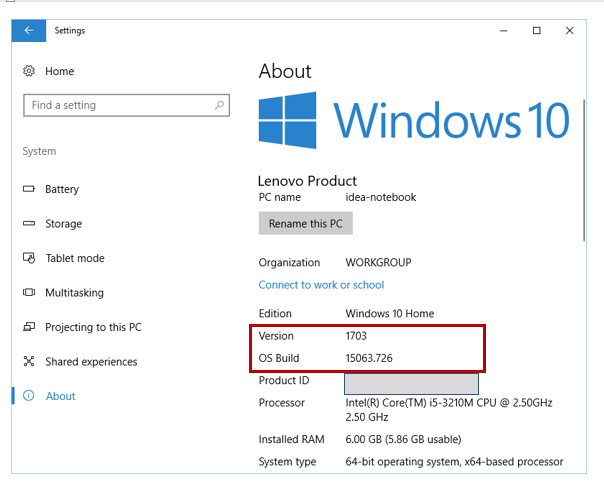 Windows 10 About Settings for Creators Update version
