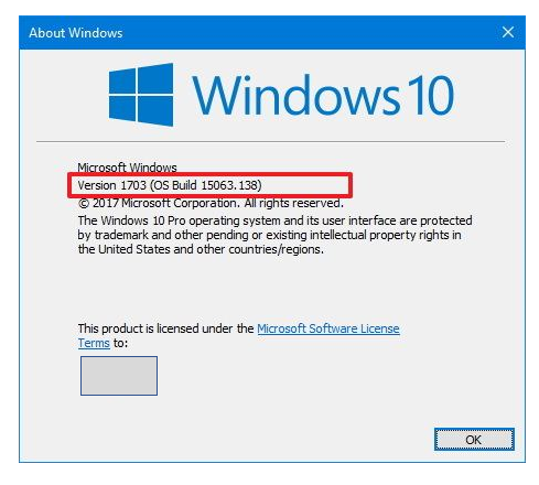 About Windows dialog box for version from Run command